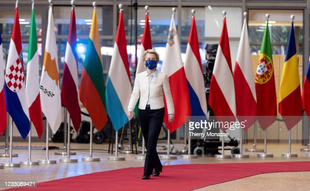President of the European Commission Ursula von der Leyen arrives for an extraordinary EU Summit on May 24, 2021 in Brussels, Belgium. European Union...