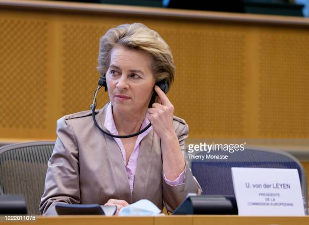 President of the European Commission Ursula von der Leyen attends a meeting of the European Parliament conference of Presidents with the European...
