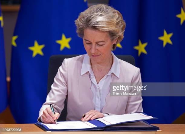 President of the European Commission Ursula von der Leyen attends a Brexit signature ceremony in the Europa building, the EU Council headquarters on...
