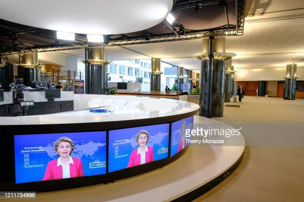 President of the European Commission Ursula von der Leyen attends the Coronavirus Global Response meeting on May 5 2020 in Brussels Belgium Today the...