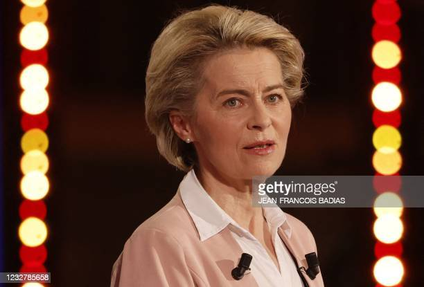President of the European Commission Ursula von der Leyen delivers her speech as she attends the Conference on the Future of Europe at the European...