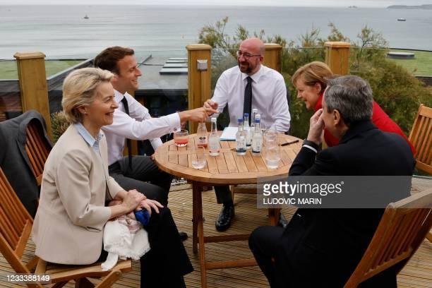 President of the European Commission Ursula von der Leyen, France's President Emmanuel Macron, President of the European Council Charles Michel,...