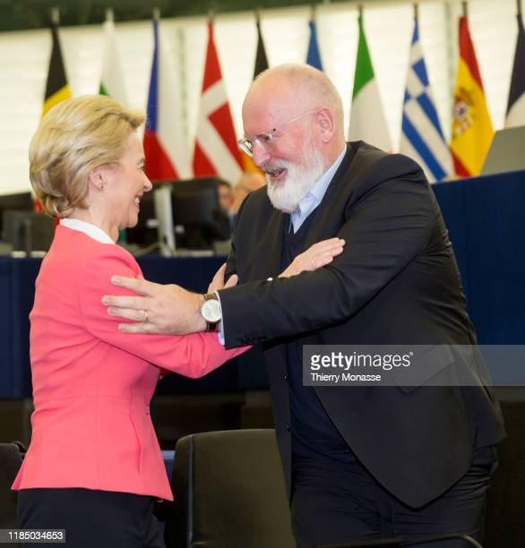 President of the European Commission Ursula von der Leyen greets the EU Commissioner for European Green Deal First Vice President and Executive Vice...
