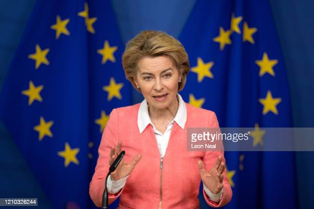 President of the European Commission Ursula von der Leyen holds a press conference following a meeting with Swedish environmentalist Greta Thunberg...