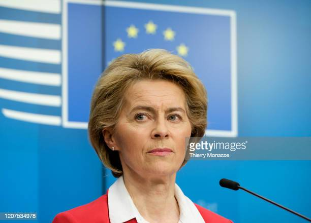 President of the European Commission Ursula von der Leyen is talking to media after EU leaders' video conference on COVID-19, caused by the novel...