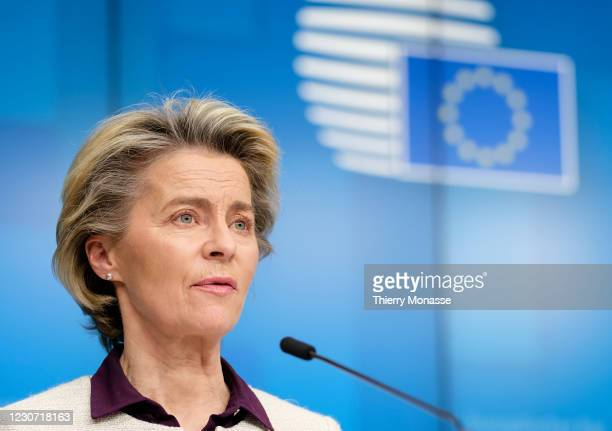 President of the European Commission, Ursula von der Leyen is talking to media at the end of a video conference meeting of the members of the...