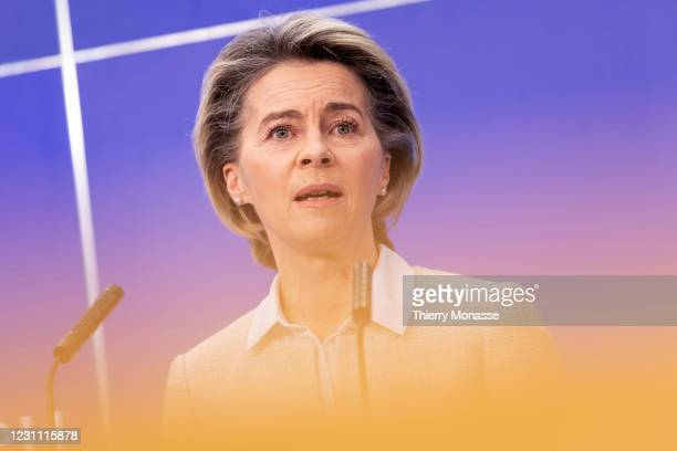 President of the European Commission Ursula von der Leyen is talking to media after the signature ceremony of the EU Recovery and Resilience Facility...