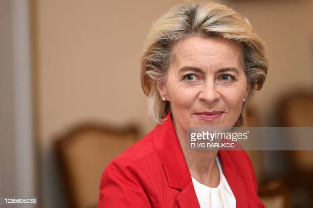 President of the European Commission Ursula von der Leyen reacts as she attends a meeting with chairman of Bosnia and Herzegovina's tripartite...