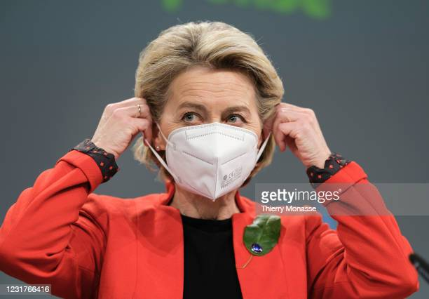 President of the European Commission Ursula von der Leyen speaks to the media about the covid-19 passeport in the Berlaymont, the EU Commission...