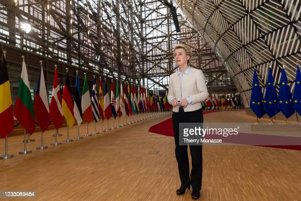 President of the European Commission Ursula von der Leyen talks to media as he arrives for an extraordinary EU Summit on May 24, 2021 in Brussels,...