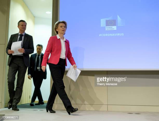 President of the European Commission Ursula von der Leyenis talks to media in the Berlaymont the EU Commission headquarter on April 2 2020 in...
