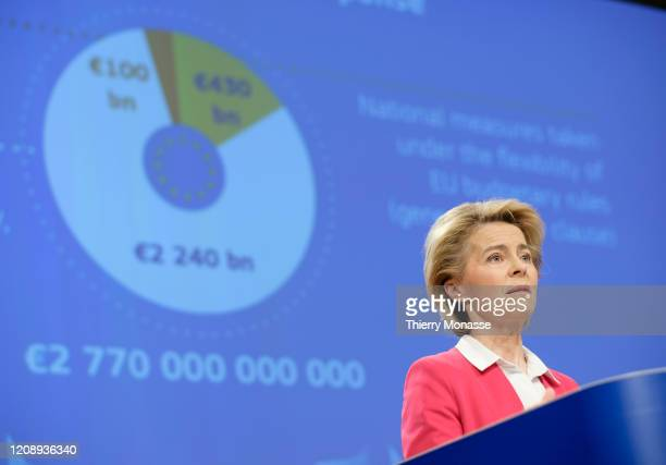 President of the European Commission Ursula von der Leyenis talks to media in the Berlaymont, the EU Commission headquarter on April 2, 2020 in...