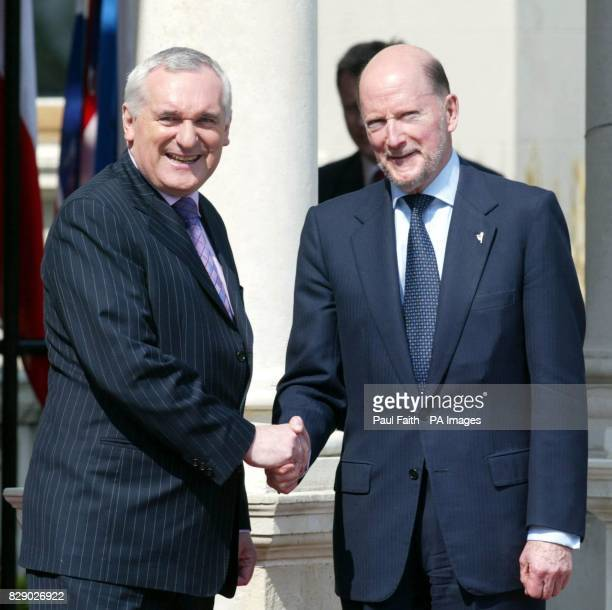 President of the European Council Bertie Ahern welcomes welcomes Bulgarian Prime Minister Simeon SaxeCoburgGotha to Farmleigh House Phoenix Park...