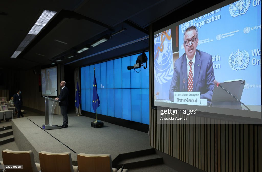 Charles Michel - Tedros Adhanom Ghebreyesus press conference : News Photo