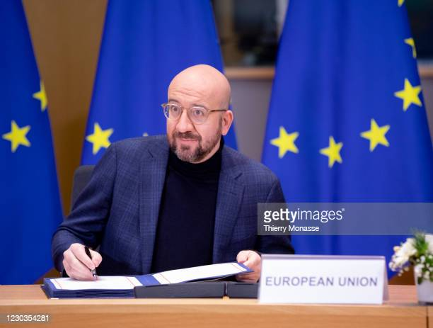 President of the European Council Charles Michel attends a Brexit signature ceremony in the Europa building, the EU Council headquarters on December...