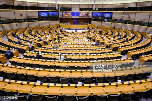 President of the European Council Charles Michel delivers a speech in the European Parliament on April 16 in Brussels Belgium Due to the coronavirus...