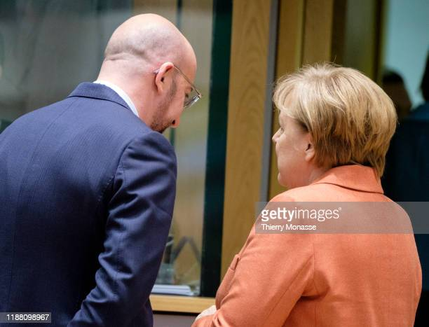 President of the European Council Charles Michel is talking with the German Chancellor Angela Merkel on the first of a two-day summit of European...