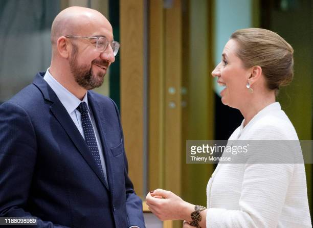 President of the European Council Charles Michel is talking with the Danish Prime Minister Mette Frederiksen on the first of a twoday summit of...