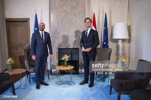President of the European Council Charles Michel is welcomed by Dutch Prime Minister Mark Rutte prior to a working dinner at the Catshuis in The...