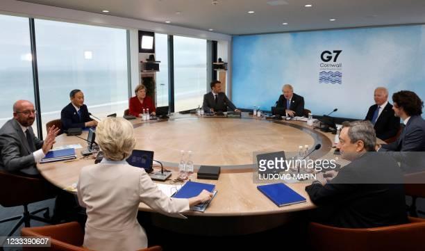 President of the European Council Charles Michel, President of the European Commission Ursula von der Leyen, Japan's Prime Minister Yoshihide Suga,...
