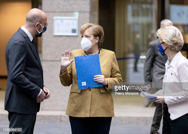 President of the European Council Charles Michel talks with the German Chancellor Angela Merkel and the President of the European Commission Ursula...