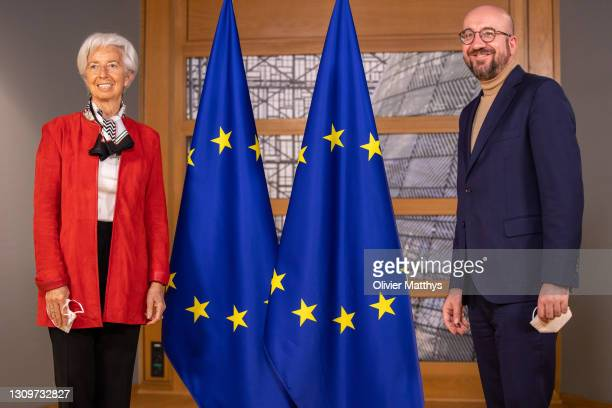 President of the European Council Charles Michel welcomes President of the ECB European Central Bank Christine Lagarde in the Julius Lipsius building...