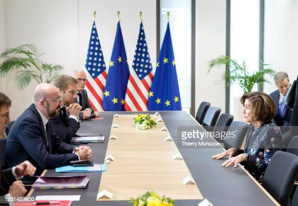 President of the European Council Charles Michel welcomes the 52nd Speaker of the United States House of Representatives Nancy Pelosi prior to a...