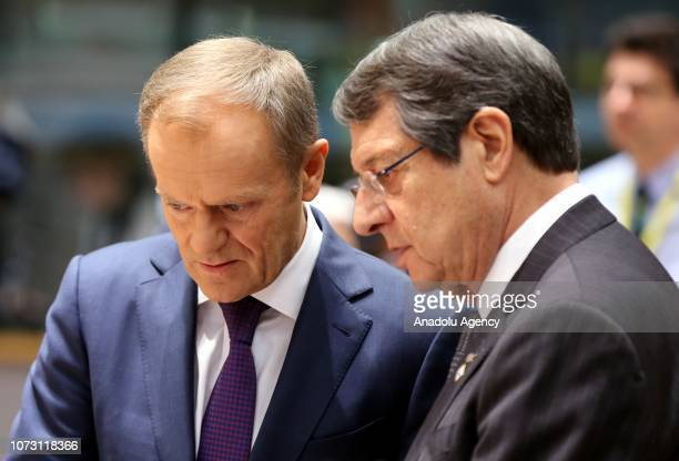 President of the European Council, Donald Tusk and Greek Cypriot Leader Nikos Anastasiadis attend the second day meeting of EU Leaders' Summit in...