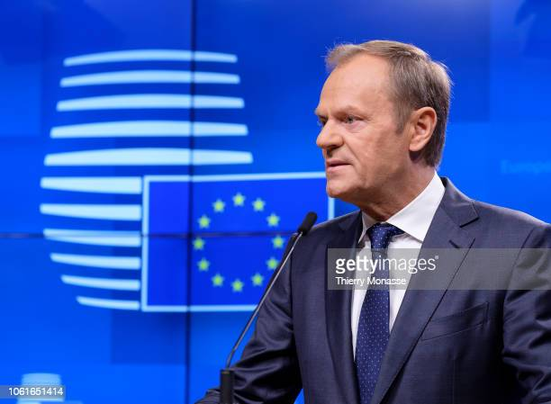 President of the European Council Donald Tusk and the European Chief Negotiator for the United Kingdom Exiting the European Union are talking to...