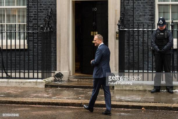 President of the European Council Donald Tusk arrives at Downing Street in central London for Brexit talks with British Prime Minister Theresa May....