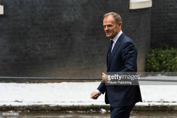 President of the European Council Donald Tusk arrives at Downing Street in central London for Brexit talks with British Prime Minister Theresa May...