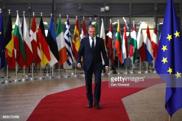 President of the European Council Donald Tusk arrives for the European Union leaders summit at the European Council on December 14 2017 in Brussels...