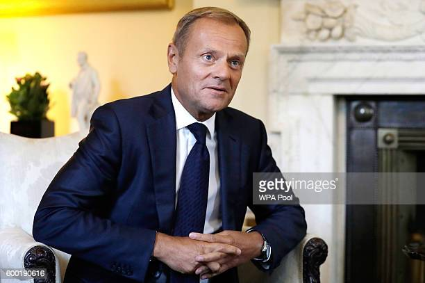 President of the European Council Donald Tusk attends a meeting with Prime Minister Theresa May in Downing Street on September 8 2016 in London...