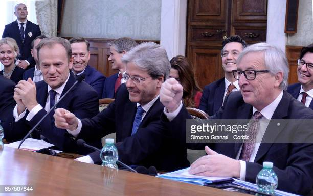 President of the European Council Donald Tusk Italian Prime Minister Paolo Gentiloni and President of the European Commission JeanClaude Juncker...