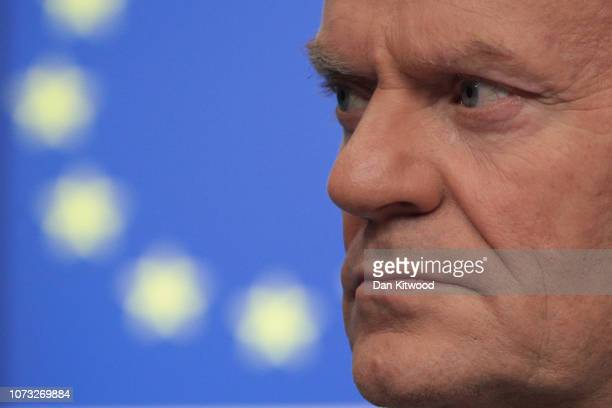 President of the European Council Donald Tusk listens during the final press conference of the European Council Meeting on December 14 2018 in...