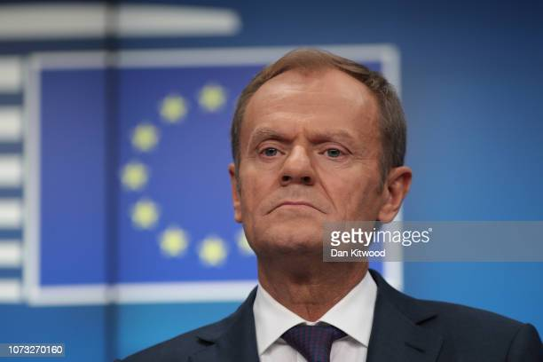 President of the European Council Donald Tusk listens during the final press conference of the European Council Meeting on December 14, 2018 in...
