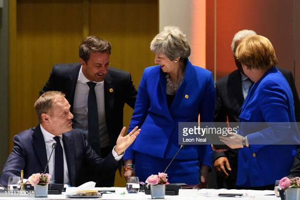 President of the European Council Donald Tusk Luxembourg's Prime minister Xavier Bettel British Prime Minister Theresa May and German Chancellor...