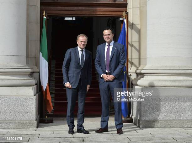 President of the European Council Donald Tusk meets with Irish Taoiseach Leo Varadkar at Government Buildings on March 19 2019 in Dublin Ireland...