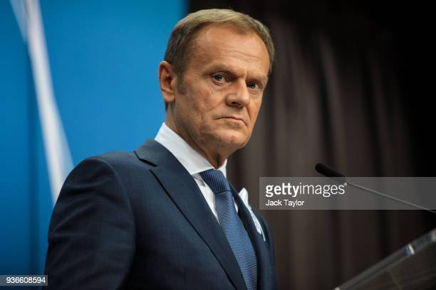 President of the European Council Donald Tusk speaks during a press conference after a European Council Meeting at the Council of the European Union...