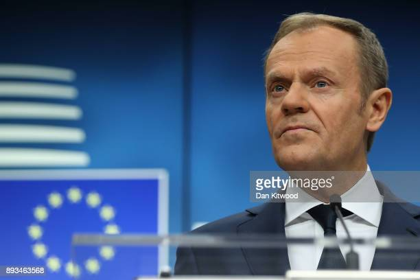 President of the European Council Donald Tusk speaks during the final press conference at the end of the European Union leaders summit at the...