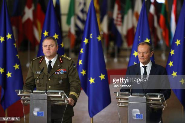 President of the European Council Donald Tusk speaks during the European Union leaders summit at the European Council on December 14 2017 in Brussels...