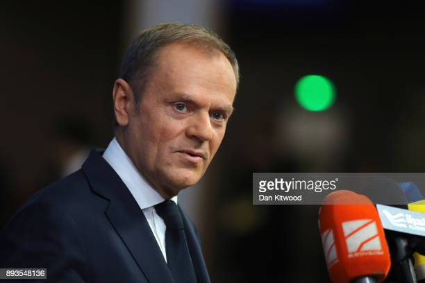 President of the European Council Donald Tusk speaks to the media during the European Union leaders summit at the European Council on December 14...