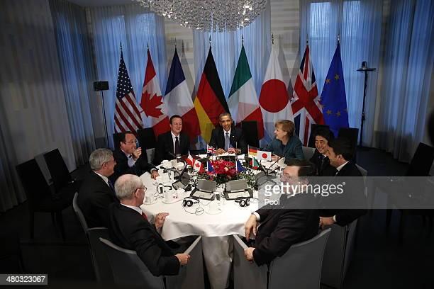 President of the European Council Herman van Rompuy, Canadian Prime Minister Stephen Harper, French President Francois Hollande, British Prime...