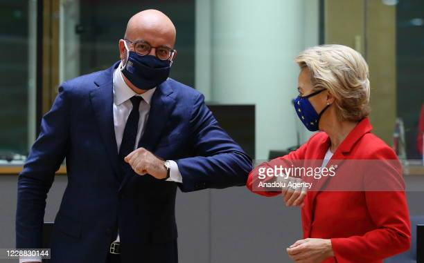President of the European Council President Charles Michel and European Commission President Ursula von der Leyen attend the European Union Leaders'...