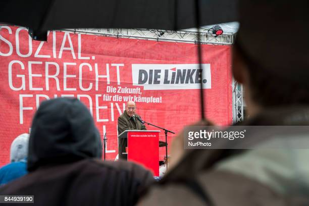 President of the European Left and politician Gregor Gysi speaks at a preelection party event at Herrmannplatz in Neukoelln in Berlin Germany on...
