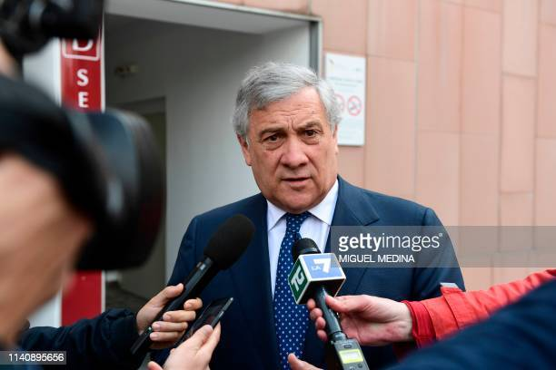 President of the European Parliament Antonio Tajani answers journalists' questions as he leaves the San Raffaele hospital in Milan on May 3 2019...