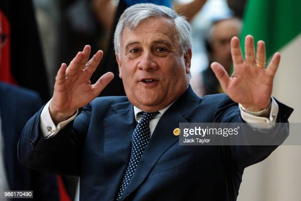 President of the European Parliament Antonio Tajani arrives at the Council of the European Union on the first day of the European Council leaders'...