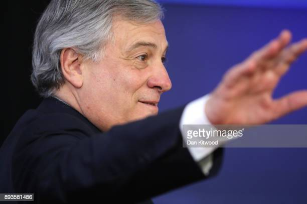 President of the European Parliament Antonio Tajani arrives for the European Union leaders summit at the European Council on December 14 2017 in...