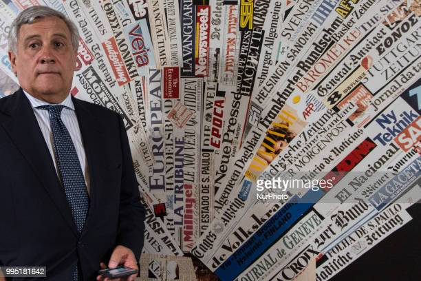 President of the European Parliament Antonio Tajani attends a press conference at the foreign press association headquarters on July 9 2018 in Rome...