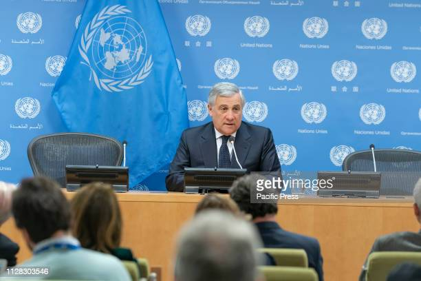 President of the European Parliament Antonio Tajani attends press conference at United Nations Headquarters